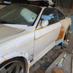 S14シルビア DIYフェンダー☆デザインが決まって、本格的に発泡ウレタン削りがスタート!